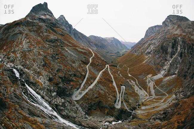 """The winding mountain road in Norway known as Trollstigen or """"Troll's Ladder"""""""