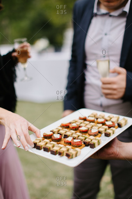 Hors doeuvres being served - Offset