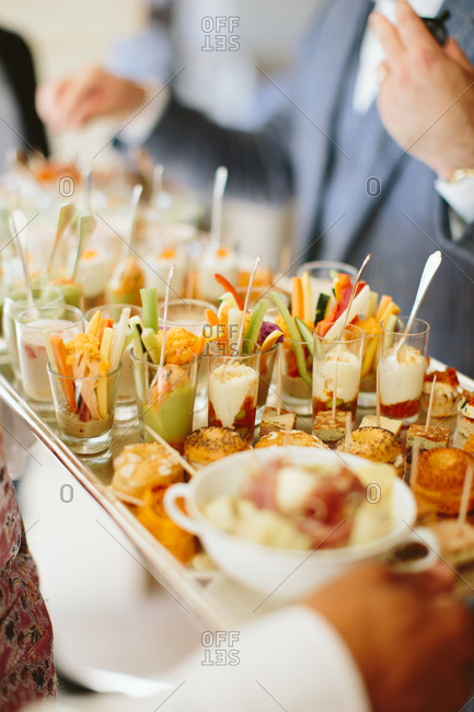Serving hors doeuvres at a wedding