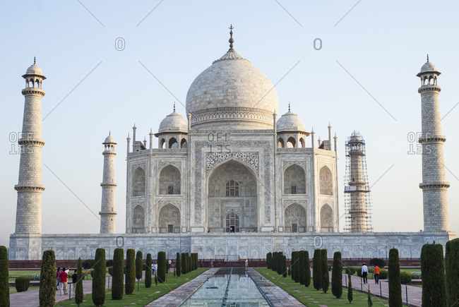 The Taj Mahal in a bright sunny day