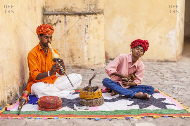 Agra, India - September 11, 2015: Snake charmers in Agra, India