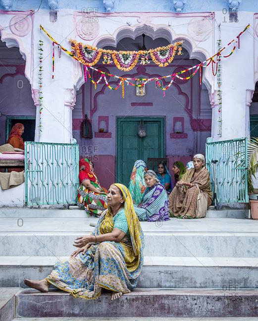 Jaipur, India - September 12, 2015: Women chanting in Jodhpur, India