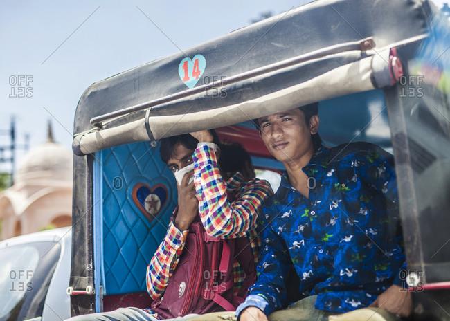 Jaipur, India - September 11, 2015: Public transportation in Jaipur, India