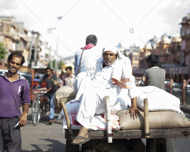 Jaipur, India - September 11, 2015: People on a crowded street in Jaipur, India