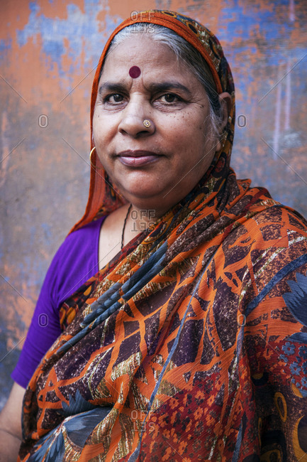 Rajasthan, India - September 12, 2015: Portrait of a woman in the city of Jodhpur, India