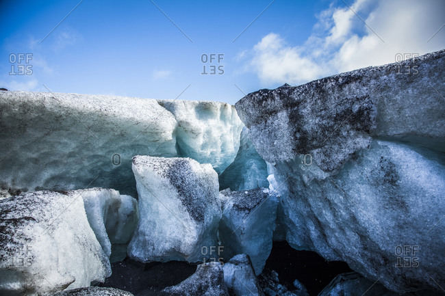 Glacier in Reykjavik, Iceland on a sunny day