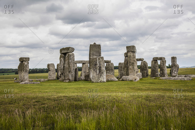 Stonehenge in Wiltshire, England on a cloudy day