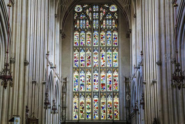 Somerset, England - October 28, 2008: Bath Abbey interior in England