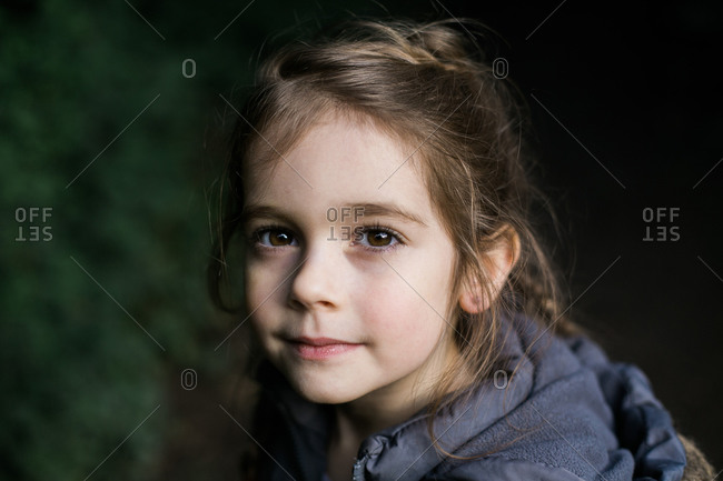 Portrait of a little girl with brown eyes