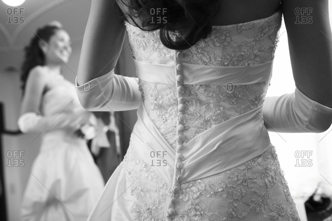 Back of Japanese bride's dress