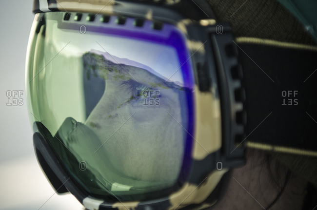 Las Condes, Chile - August 24, 2012: Close up of person wearing ski goggles