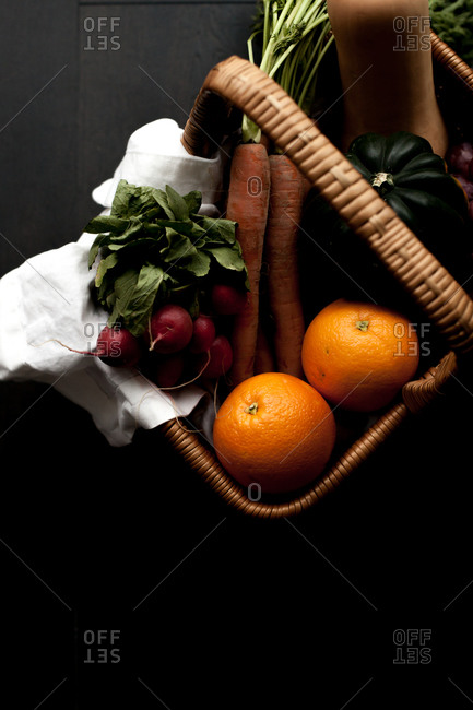 Close-up of a basket filled with fruits and vegetables