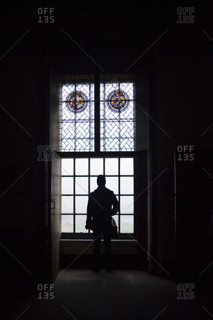 Silhouette of a person standing in front of a window