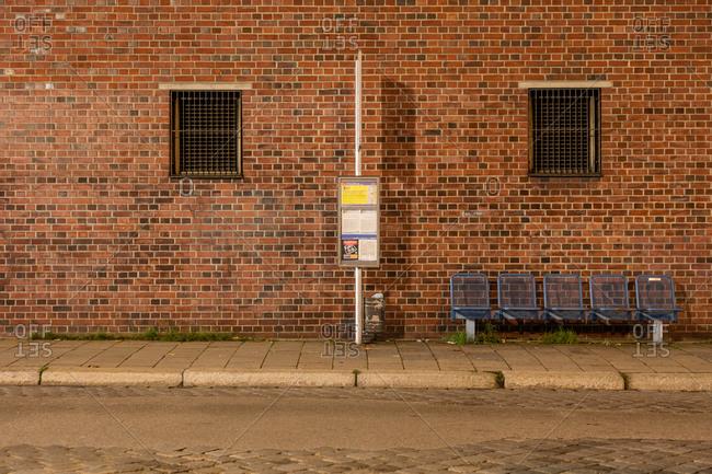 Bus station with brick wall, Munich