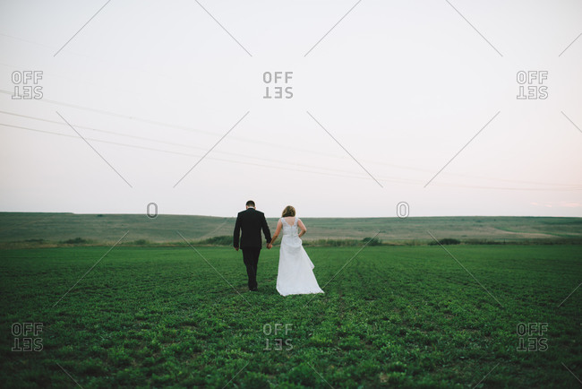 Groom and bride in verdant countryside
