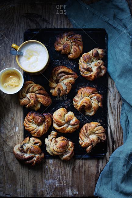 Swedish cinnamon buns and warm milk with honey