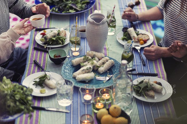 High angle view of friends sitting at dinner table in yard