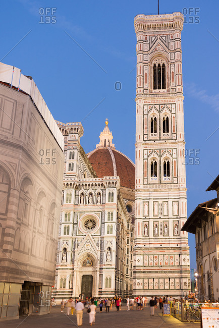The Piazza del Duomo near Giotto's Bell Tower and the Cathedral of Florence in Florence, Italy