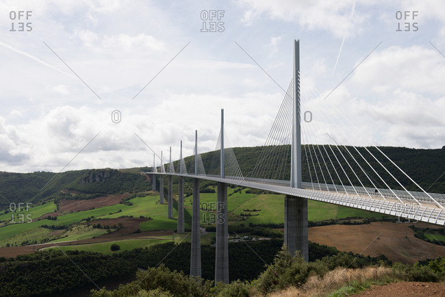 Millau Viaduct Bridge over the Tarn River valley in southern France