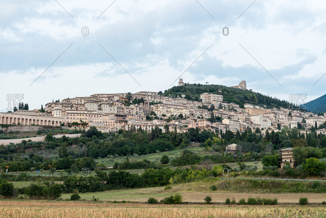 Village on a hillside in the Italian countryside