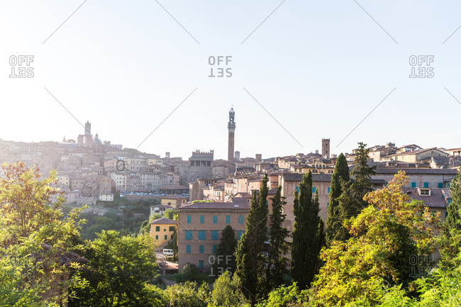 View of the Torre del Mangia and Siena Cathedral in Siena, Tuscany, Italy