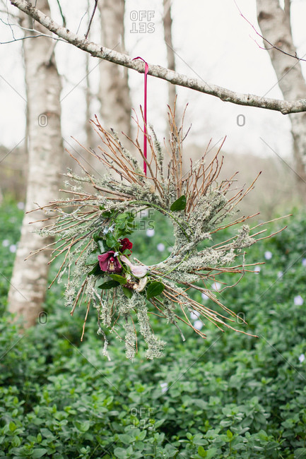 Wreath adorned with flowers and bird hangs from a tree branch