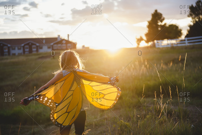 Girl wearing butterfly wings and playing in a meadow