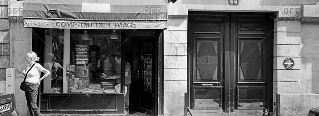 Bookshop in the Marais district in Paris, France