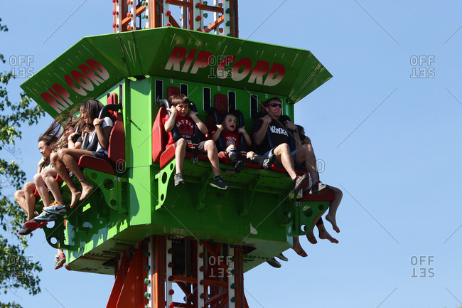 Children show their fear during a ride at the fair in New Canaan, Connecticut
