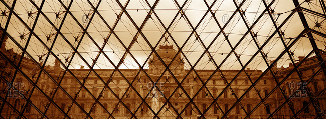 View from inside the glass pyramid of the Musee Du Louvre, Paris, France