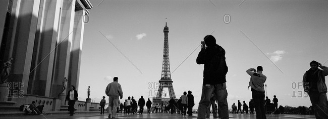 Tourists at the Eiffel Tower in Paris, France