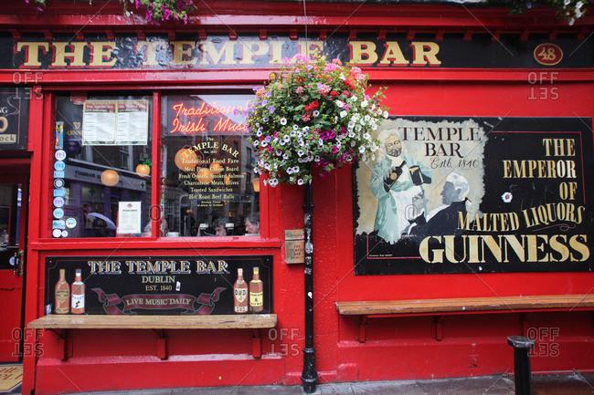 Dublin, Ireland - July 6, 2012: The Temple Bar Pub in Temple Bar, Dublin, Ireland