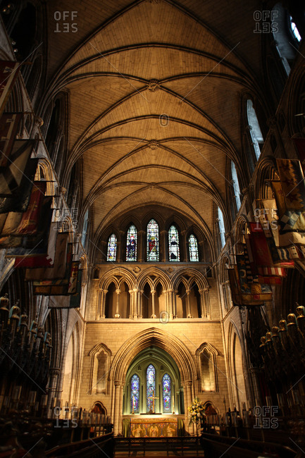 Dublin, Ireland - July 6, 2012: Interior of St Patrick's Cathedral, Dublin