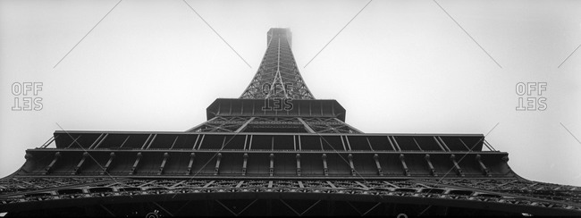 Low angle view of the Eiffel Tower in Paris, France