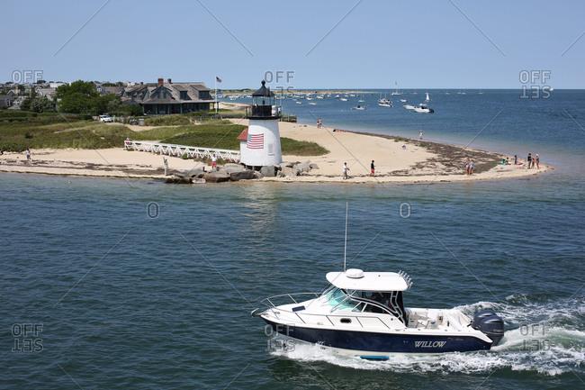 The entrance to Nantucket Harbor showing Brant Point Light, Nantucket Island, Massachusetts
