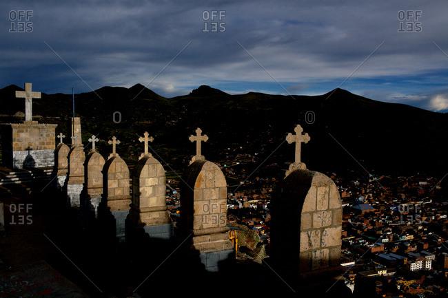 Monuments on Cerro Calvario atop the village of Copacabana on the shores of Lake Titicaca, Bolivia