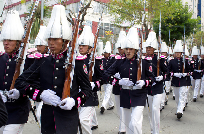 "La Paz, Bolivia - March 23, 2010: Bolivian  military personal participate in a military parade to honor national hero Eduardo Avaroa as part of ""Day of the Sea"" celebrations,  Sopocachi, La Paz, Bolivia"