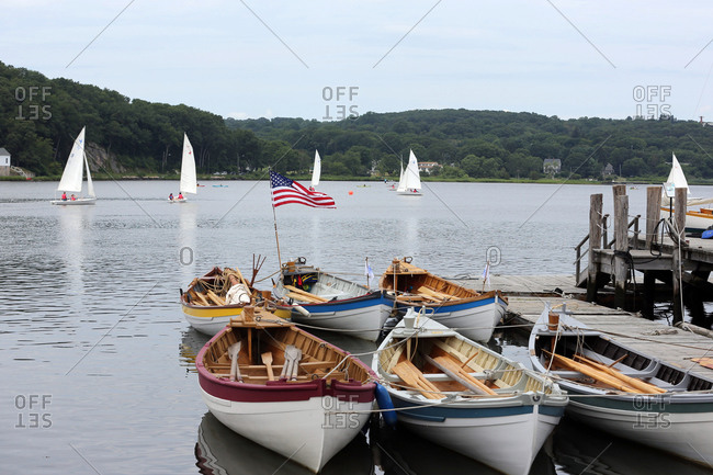 Waterfront with sailboats in, Mystic, Connecticut