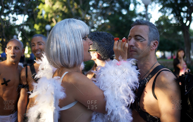 Sydney, Australia - March 7, 2009: Participants of the Gay and Lesbian Mardi Gras get ready for the parade in the city center in Sydney, Australia