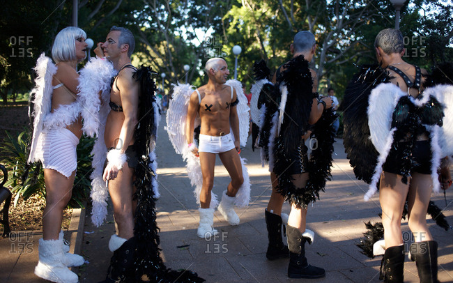 Sydney, Australia - March 7, 2009: Participants of the Gay and Lesbian Mardi Gras prepare for the parade in the city center in Sydney, Australia