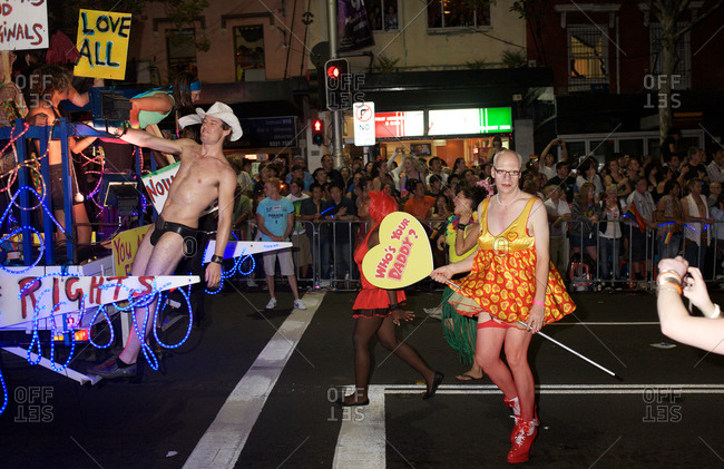 Sydney, Australia - March 7, 2009: Participants in the Gay and Lesbian Mardi Gras parade in the city center in Sydney, Australia