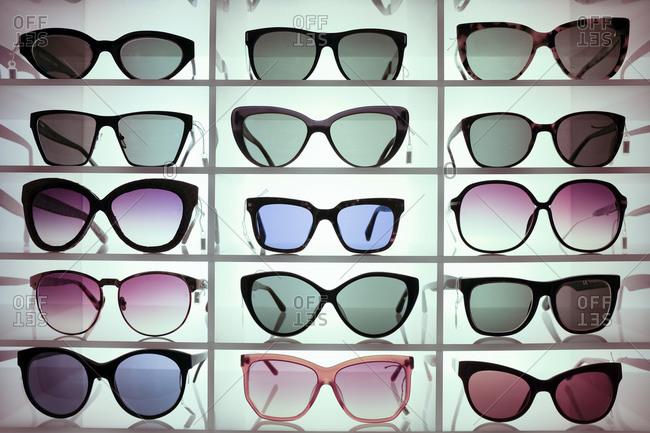 Sunglasses on display in a store