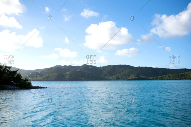 View of a Caribbean island from a boat