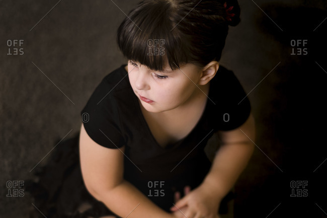 Young girl in black clothing
