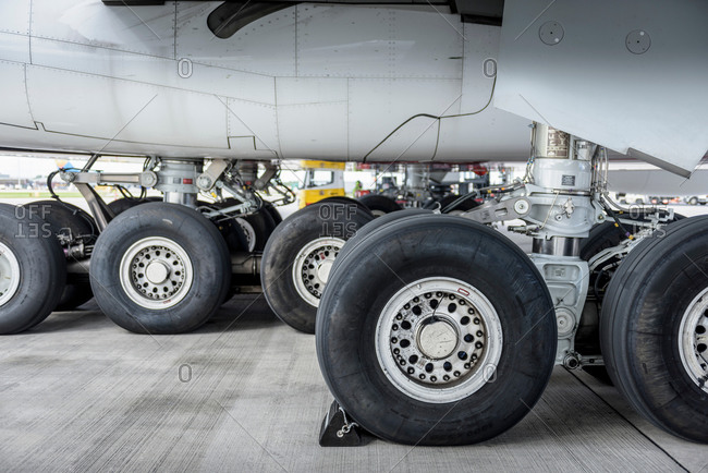 View of an aircraft landing gear and wheels