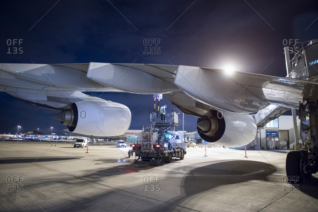 Refueling an aircraft on runway at night