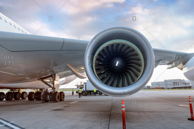 Detail of jet engine on an aircraft