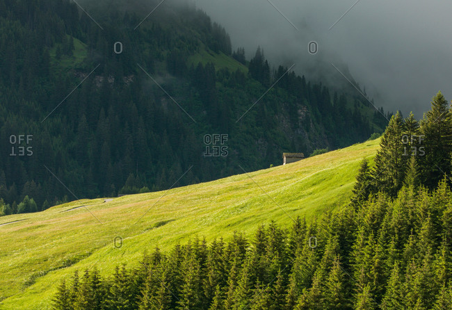 Distant house in alpine meadow, Canton Graubunden, Switzerland,