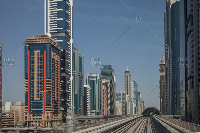 City skyline and Dubai metro rail track, downtown Dubai, United Arab Emirates