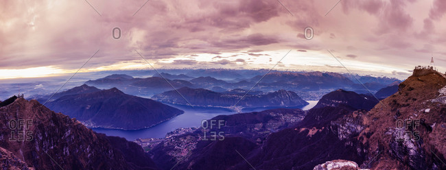 Panoramic view of Lake Lugano at dawn, Switzerland